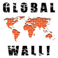 Illustration global wall like map bricks Stock Photography