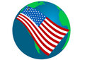 Illustration of a Globe with USA flag Stock Photo