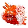 Goddess Durga Face in Happy Durga Puja Subh Navratri background Royalty Free Stock Photo