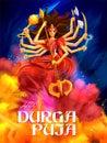 Goddess Durga in Happy Durga Puja Subh Navratri Indian religious header banner background Royalty Free Stock Photo
