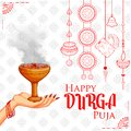 Goddess Durga in Happy Dussehra Navratri background Royalty Free Stock Photo