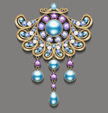 Illustration gold brooch with pearls and precious stones.