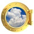 Illustration of a gold ship porthole Royalty Free Stock Photo