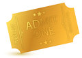 Illustration of gold ticket Royalty Free Stock Photography
