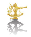 Illustration golden sextant instrument reflection against white background Royalty Free Stock Images
