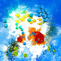Illustration goldfish water splashing Stock Photo