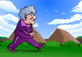 Illustration grandma doing jogging nature Stock Image