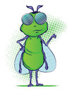 Illustration green bug mascot standing up Stock Photo