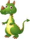 Illustration of green cute dragon posing