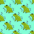 Illustration green frog with butterflies, background. Seamless pattern. Royalty Free Stock Photo
