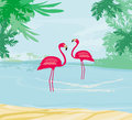 Illustration with green palms and pink flamingo Royalty Free Stock Photo