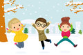 Illustration of a group of children jumping and playing in the snow in the winter Royalty Free Stock Photo
