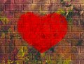 Illustration grunge heart wall bricks Royalty Free Stock Photos