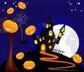 Illustration of Halloween pumpkins with a castle a Stock Photos