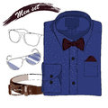 Illustration of hand drawn doodle coordination folded shirt vector the bow tie spectacles and belt men set on white background Stock Photo