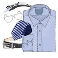 Illustration of hand drawn doodle coordination shirt tie vector with band spectacles and belt men set on white background Stock Photo