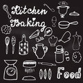 Illustration with hand-drawn kitchenware and foods on the chalkboard Royalty Free Stock Photo
