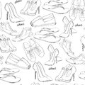 Illustration of hand drawn seamless pattern Women Footwear. Casual, classical and sport style, gumshoes for girl. Shoes