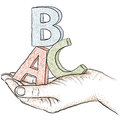 Illustration hand holding letters abc Royalty Free Stock Photography