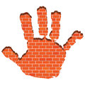 Illustration hand print wall bricks Royalty Free Stock Photos