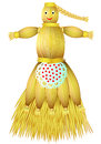 Illustration of handmade doll fabricated from straw on white background.