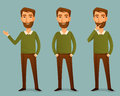 Illustration of a handsome young man with beard cartoon Royalty Free Stock Photo