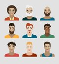 Illustration of a handsome young man with various hair style and beard cartoon Stock Images
