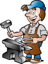 Illustration of an Happy Blacksmith Worker Royalty Free Stock Photos
