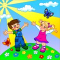 The illustration of happy cartoon kids nice and funny sunny weather two butterflies clouds flowers green grass two boy and girl Royalty Free Stock Image