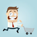 Illustration of happy cartoon man running with shopping trolley isolated on pale background Stock Photo