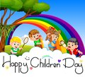 Happy children day poster with happy kids playing in the garden Royalty Free Stock Photo