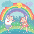 Illustration with happy children, rainbow, rain, s