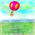 Illustration of happy family in a balloon raster Royalty Free Stock Photos