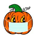 Illustration. A happy Halloween pumpkin with a face mask