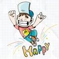 Illustration Happy. Happy boy cartoon