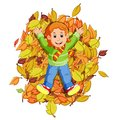 Happy little girl playing with autumn leaves