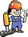 Illustration of an happy mechanic or handyman hand drawn vector Stock Photo