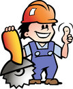 Illustration of an happy mechanic or handyman hand drawn vector Stock Photography