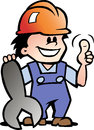 Illustration of an happy mechanic or handyman vector Royalty Free Stock Image