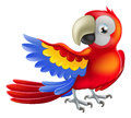 Illustration happy red cartoon macaw parrot pointing his wing Stock Photo