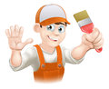 Illustration happy smiling cartoon painter decorator holding paintbrush waving Royalty Free Stock Photos