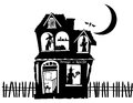Illustration of a haunted house black and white filled with all kinds characters Royalty Free Stock Photo