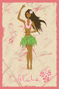 Illustration of hawaiian girl dancing hula on a retro background Royalty Free Stock Image