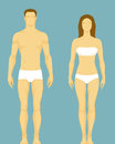 Illustration of a healthy body type of man and wom simple stylized woman in retro colors Royalty Free Stock Images