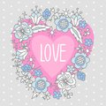 Illustration of heart with the word love and arrow framed by flowers. Royalty Free Stock Photo