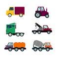 An illustration of heavy trucks on white background
