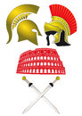 Illustration helmets greek roman soldiers colosseum crossed gladius swords Royalty Free Stock Image