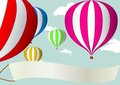 Illustration hot air balloon blue sky Royalty Free Stock Photo