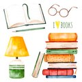 Illustration with a huge pile of books,lamp,open book,pencil and glasses