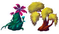 Illustration: The Huge Plants Set 2. Big Flower Trees. Royalty Free Stock Photo
